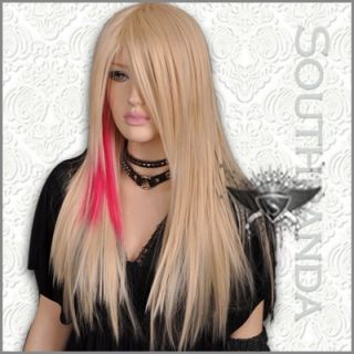 GW057 Avril Lavigne Long Blonde Mixed Straight Full Wig