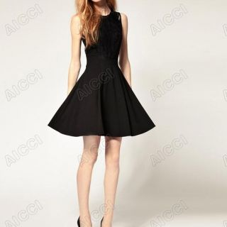 New Arrivals Womans Lace Round Collar Sleeveless Black Mini Dress