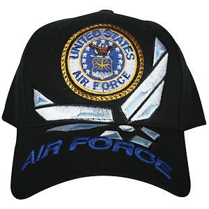 BLACK US AIR FORCE EMBROIDERED BALL SUN CAP   Adjustable Back