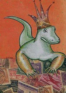 Original Art Drawing Collage 5x7 Old World Dragon Lizard Lowbrow EBSQ