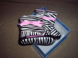 NIB Girls Zebra Striped Rain Boots With Pink Trim By Natural Steps