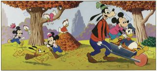 This original art for a Mickey Mouse/Goofy/Donald Duck/Pluto