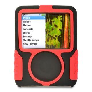 Apple iPod Nano 3G 3rd Gen GRIFFIN Black Red Silicone Case Soft Rubber