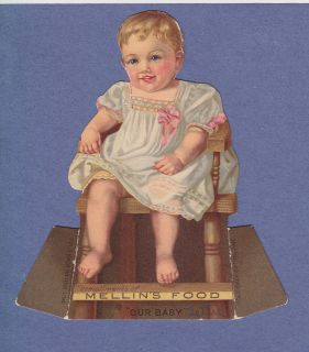 Victorian Trade Card Stand Up Die Cut Mellins Food Baby Girl