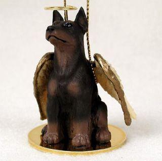 Doberman Pinscher Dog Figurine Angel Statue Hand Painted Red