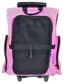 AIRLINE DOG BACKPACK ROLLING PET CARRIER LUGGAGE CL WPC PINK