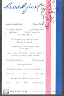 American Banner Lines SS Atlantic Breakfast Menu 1959
