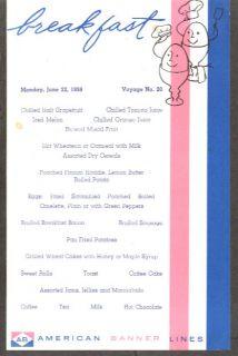 American Banner Lines SS Atlantic Breakfast Menu 1959