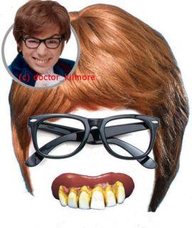 Austin Powers Fancy Dress 3 piece Kit   Brown Wig, Black Glasses + Bad