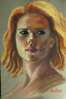 Johansson Black Widow Avengers Iron Man Original Art Pastel Drawing