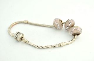 "Ladies Authentic Pandora 925 Sterling Silver Bracelet 3 Charms 8"" 20"