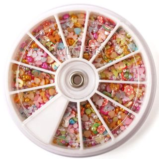 1200 Pcs Nail Art Rhinestone Mixed Shape Baby Pearl Fimo Flower