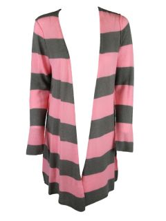 Autumn Cashmere Womens Feather Gray Pink Stripe Cardi Sweater XS $262