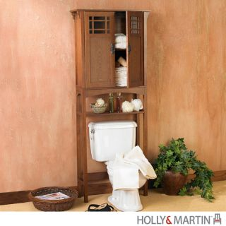 Towel Rack  Bathroom on Connor Mission Oak Bathroom Spacesaver Towel Rack Storage Cabinet Wood