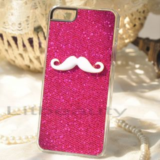 Pcs Rose & Silver Bling Mustache Case Cover For iPhone 5 5TH Couple