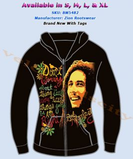 Brand New Bob MarleyThree Little Birds   Smile Licensed Hoodie Sz S