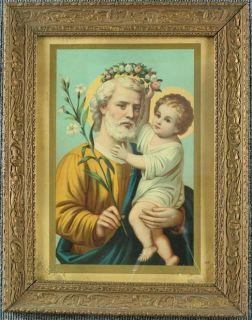 Antique Framed Art Nouveau Print St Saint Joseph Jesus