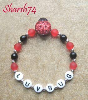 NeW Baby Child Girls Red & Black Glittery Personalized Ladybug Name