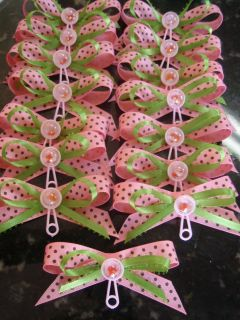 BABY SHOWER CORSAGE MINI PINS CAPIAS 50PCS PINK LIME GREEN BROWN WITH