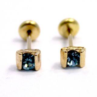 Gold 18K GF Earrings Baby Blue Crystal Square Earrings Girl Security