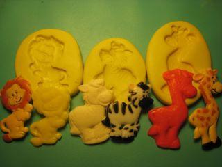 Zoo Animal 3 Set Silicone Mold Gumpaste Fondant Cake Chocolate Clay