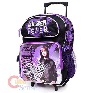 Justin Bieber School Roller Backpack Rolling Bag 16 Large Purple