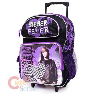 Justin Bieber School Roller Backpack Rolling Bag 16 Large Purple