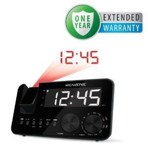 Projection Dual Alarm Clock Radio Large Display Battery Backup