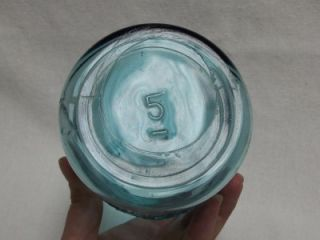 Antique Vtg Ball Mason Canning Jar Aqua Blue Glass Quart Marked 5