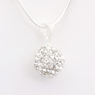 Clear Swarovski Crystal Ball Pendant Silver Necklace 59
