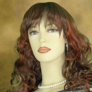 Long Wavy Auburn Red Mix Wig with Bangs Sexy Costume W9123