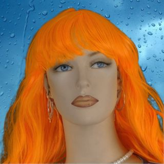 Long Wavy Orange Wig With Bangs Costume Z9774