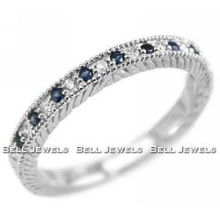 BLUE SAPPHIRE DIAMOND WEDDING RING BAND 14K WHITE GOLD VINTAGE ANTIQUE