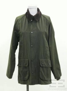Barbour Sage Green Brown Corduroy Collar Zip Front Bedale Jacket