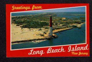 Long Beach Island New Jersey Barnegat Lighthouse Light Postcard