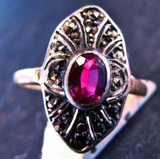 Antiker Art Dèco Ring Mit Pinkem Spinell Silber Gold Markasit