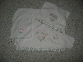 White Heart Design Decorative Bathroom Towel Set by R A Briggs