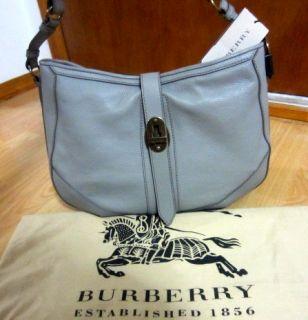 Burberry Bartow Grainy Leather Medium Hobo Satchel Tote Bag Grey