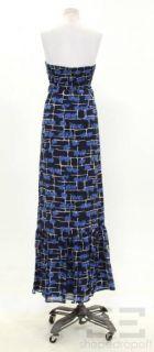 Calypso St Barth Navy Blue Elephant Print Silk Long Dress Size L New
