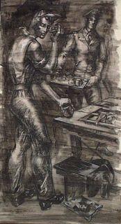 WALTER BARTSCH 1944 MILITARY UNIFORM GAY A LA CADMUS PEN & INK WASH