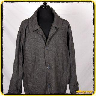 Steve Barrys Wool Jacket Car Coat Mens Size XL Gray Buttoned