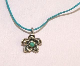 Barse Vintage 925 Sterling Silver Flower Turquoise Pendant Necklace 4