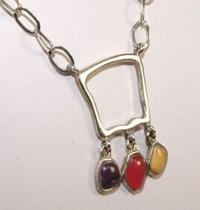 Vintage Barse 925 Sterling Silver Turquoise Pink Onyx Yellow Jade