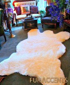 x9 White Bear Skin Area Rugs Faux Fur Sheepskins Cabin Accent Shag