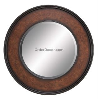 New Large 36 Round Wall Mirror Traditional Wood Frame