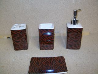 4pcs Bath Accessory Set Brown Zebra Print Bathroom Toothbrush Tumbler