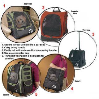 Pet Carrier Car Seat Wheeled I Go Backpack Dog Pet Gear Sage 73443