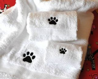 Paw Print Dog Cat 3 PC Towel Set Bath Hand Wash