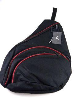 Nike Air Jordan Sling Black Red Zipper Messenger Bike Book Bag Men