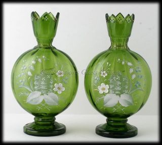 Antique Green Bohemian Art Glass Lily of The Valley Enameled Vases